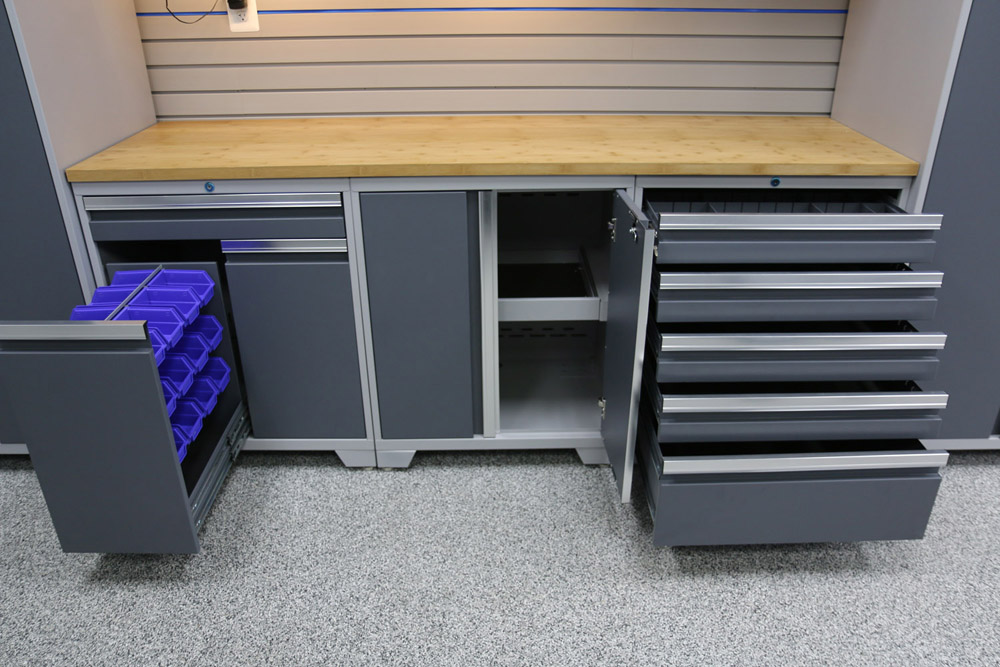 custom cabinet is included our garage cabinets can be installed on the floor with adjustable legs on casters for easy