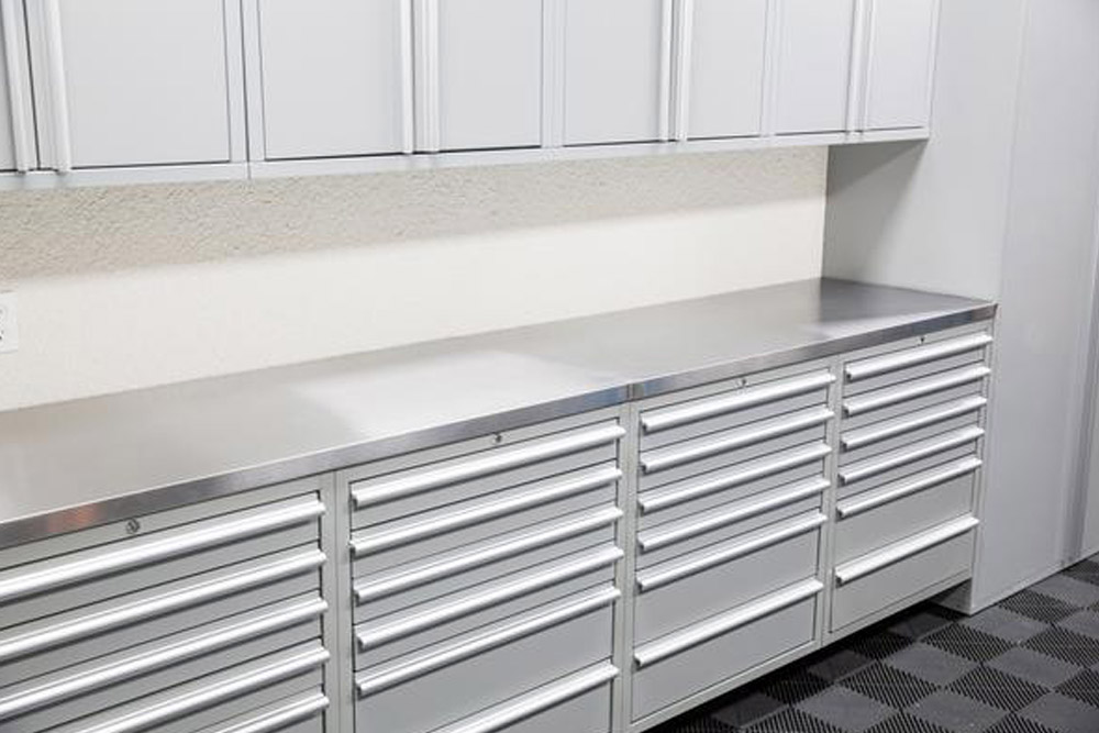 double shot two workbench cabinet wide flr granite organizers garage cabinets steel direct workbenches feb with gallery inspiration sedona stainless